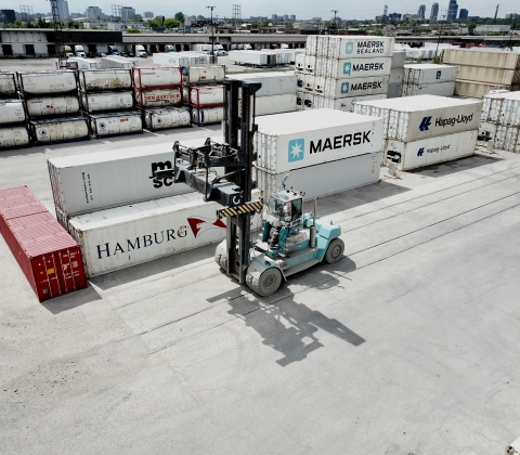 Laden container handler at P&W Intermodal, Canada